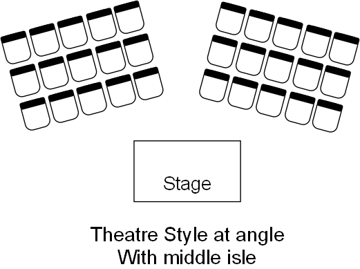 Theatre angle with isle venue table layout