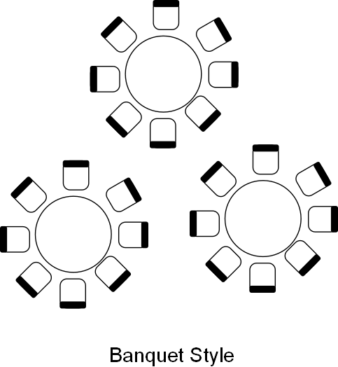 Banquet style venue table layout