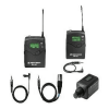 Hot shoe mount Sennheiser radio microphone set with transmitter and receiver.