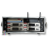 self contained rack of 4 sennheiser radio microphone receivers with aerial distribution unit
