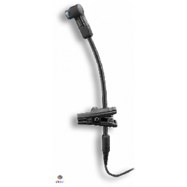 Clip on microphone which clips to the bell of an instrument and plugs into a sennheiser radio beltpack