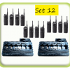 Package of 12 event radios with 2 base charger stations