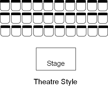Theatre style venue table layout