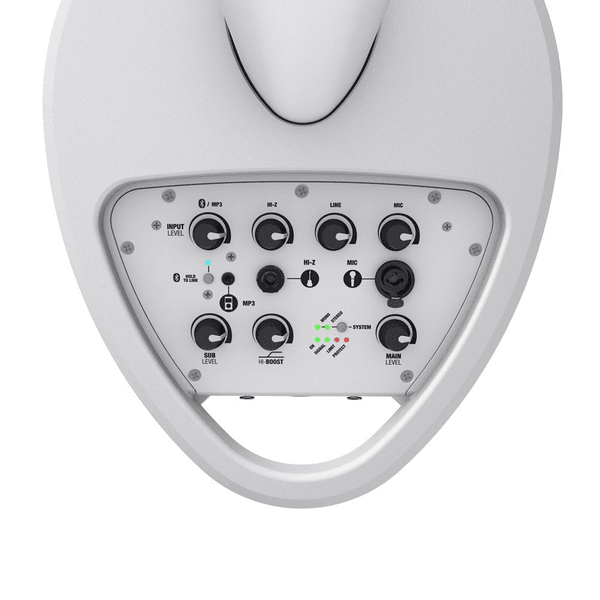 White battery powered portable pa speaker with inbuilt mixer for microphone and guitar input to rent in harlow
