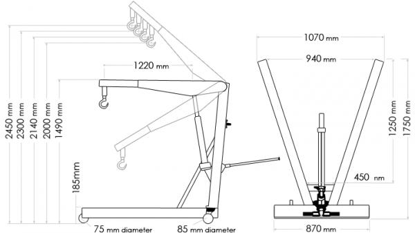 Length and reach of engine lift hoist