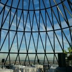 View out of the gherkin building in london for an event