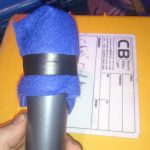 Makeshift pop shield for voice of god microphone